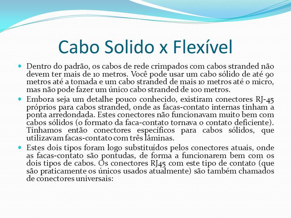 Cabo Solido x Flexível Dentro do padrão, os cabos de rede crimpados com cabos stranded não devem ter mais de 10 metros.