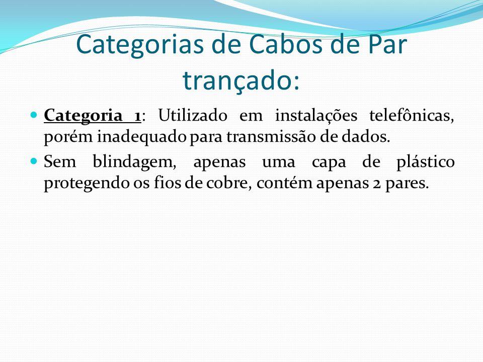 Categorias de Cabos de Par trançado: Categoria 1: Utilizado em instalações telefônicas, porém inadequado para transmissão de dados.