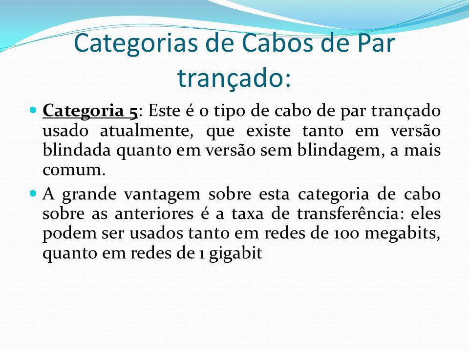 Categorias de Cabos de Par trançado: Categoria 5: Este é o tipo de cabo de par trançado usado atualmente, que existe tanto em versão blindada quanto em versão sem blindagem, a mais comum.