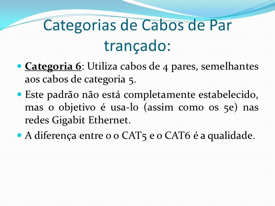 Categorias de Cabos de Par trançado: Categoria 6: Utiliza cabos de 4 pares, semelhantes aos cabos de categoria 5.