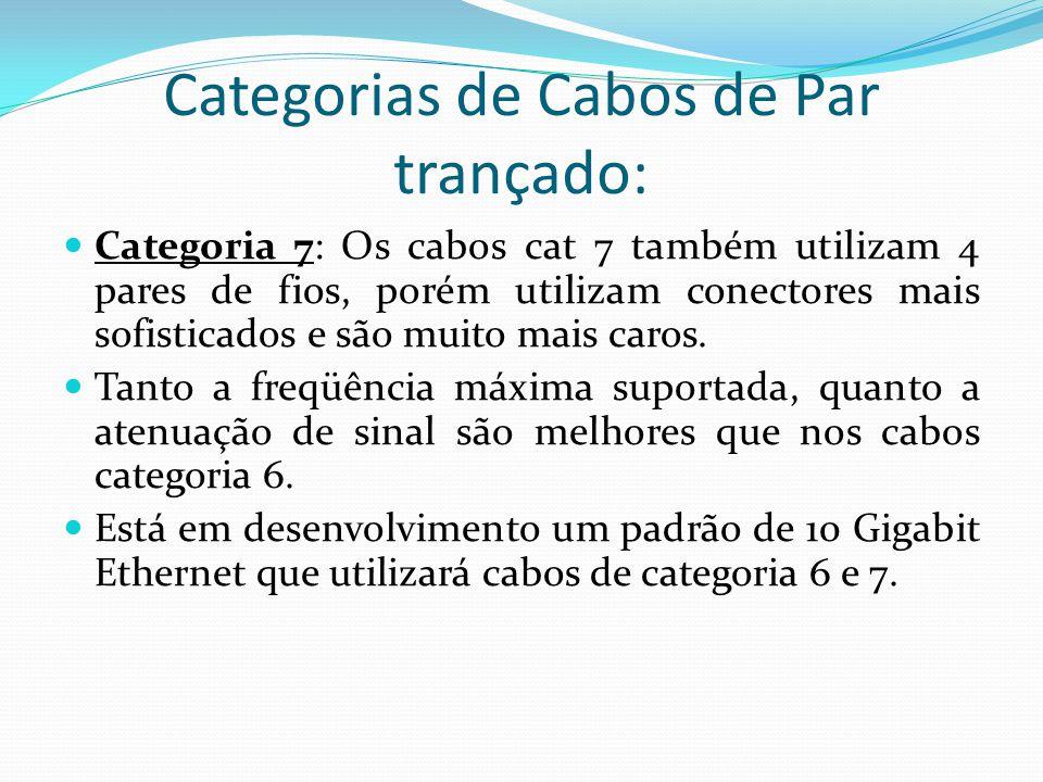 Categorias de Cabos de Par trançado: Categoria 7: Os cabos cat 7 também utilizam 4 pares de fios, porém utilizam conectores mais sofisticados e são muito mais caros.