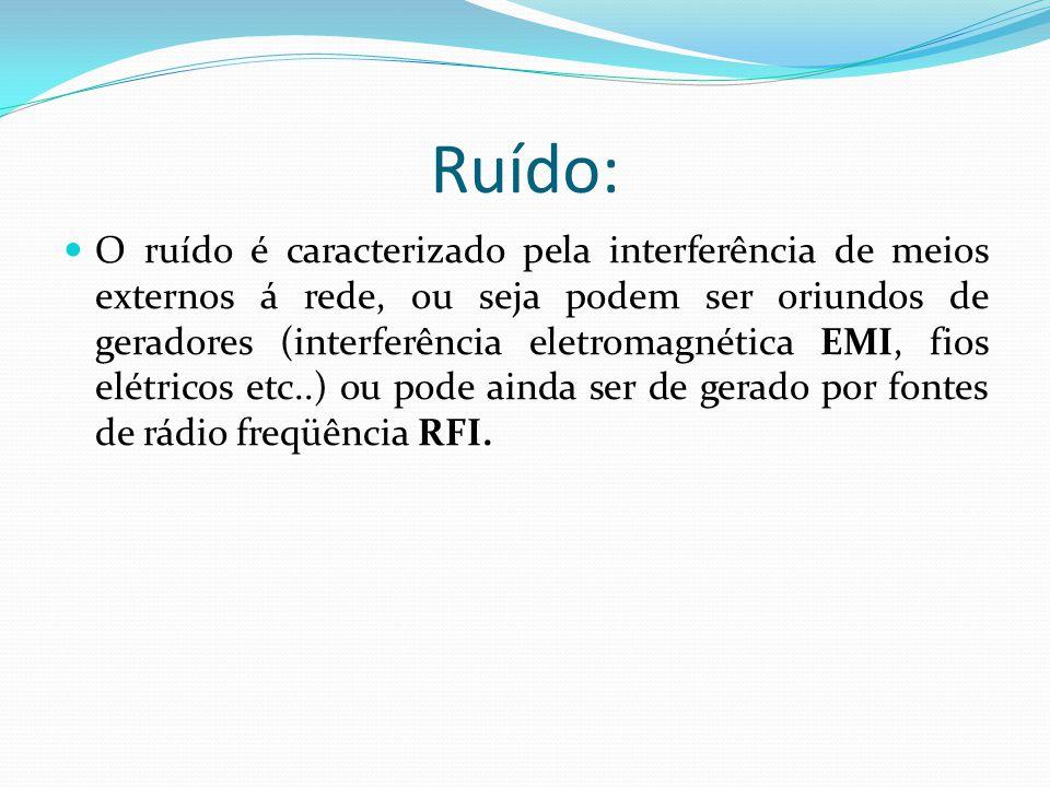 Ruído: O ruído é caracterizado pela interferência de meios externos á rede, ou seja podem ser oriundos de geradores (interferência eletromagnética EMI, fios elétricos etc..) ou pode ainda ser de gerado por fontes de rádio freqüência RFI.
