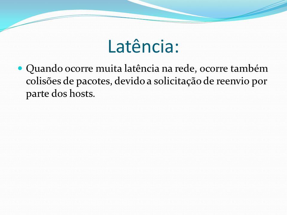 Latência: Quando ocorre muita latência na rede, ocorre também colisões de pacotes, devido a solicitação de reenvio por parte dos hosts.