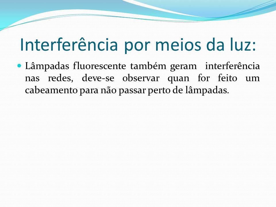 Interferência por meios da luz: Lâmpadas fluorescente também geram interferência nas redes, deve-se observar quan for feito um cabeamento para não passar perto de lâmpadas.