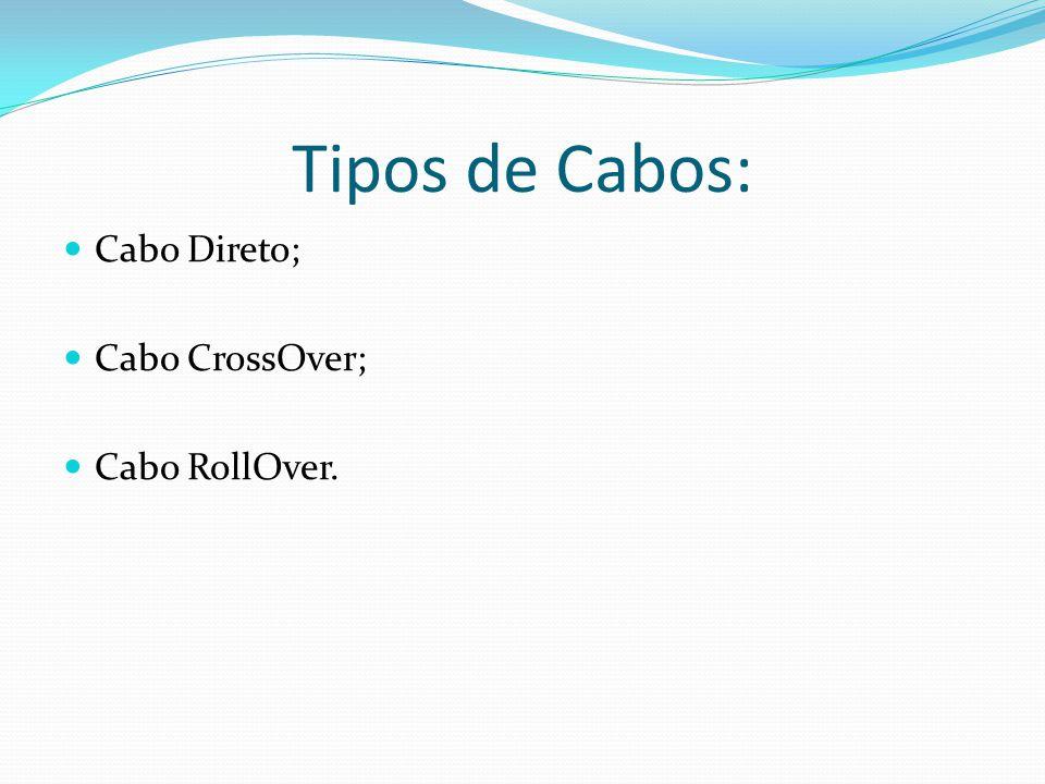 Tipos de Cabos: Cabo Direto; Cabo CrossOver; Cabo RollOver.