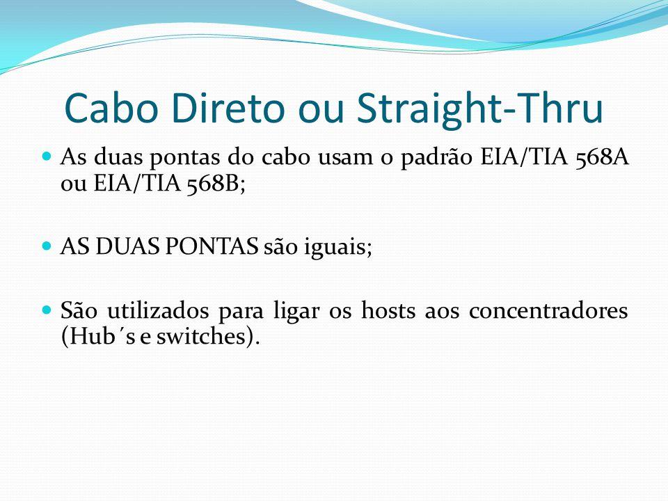 Cabo Direto ou Straight-Thru As duas pontas do cabo usam o padrão EIA/TIA 568A ou EIA/TIA 568B; AS DUAS PONTAS são iguais; São utilizados para ligar os hosts aos concentradores (Hub´s e switches).