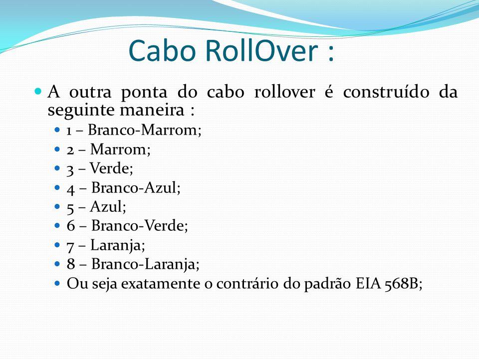 Cabo RollOver : A outra ponta do cabo rollover é construído da seguinte maneira : 1 – Branco-Marrom; 2 – Marrom; 3 – Verde; 4 – Branco-Azul; 5 – Azul; 6 – Branco-Verde; 7 – Laranja; 8 – Branco-Laranja; Ou seja exatamente o contrário do padrão EIA 568B;