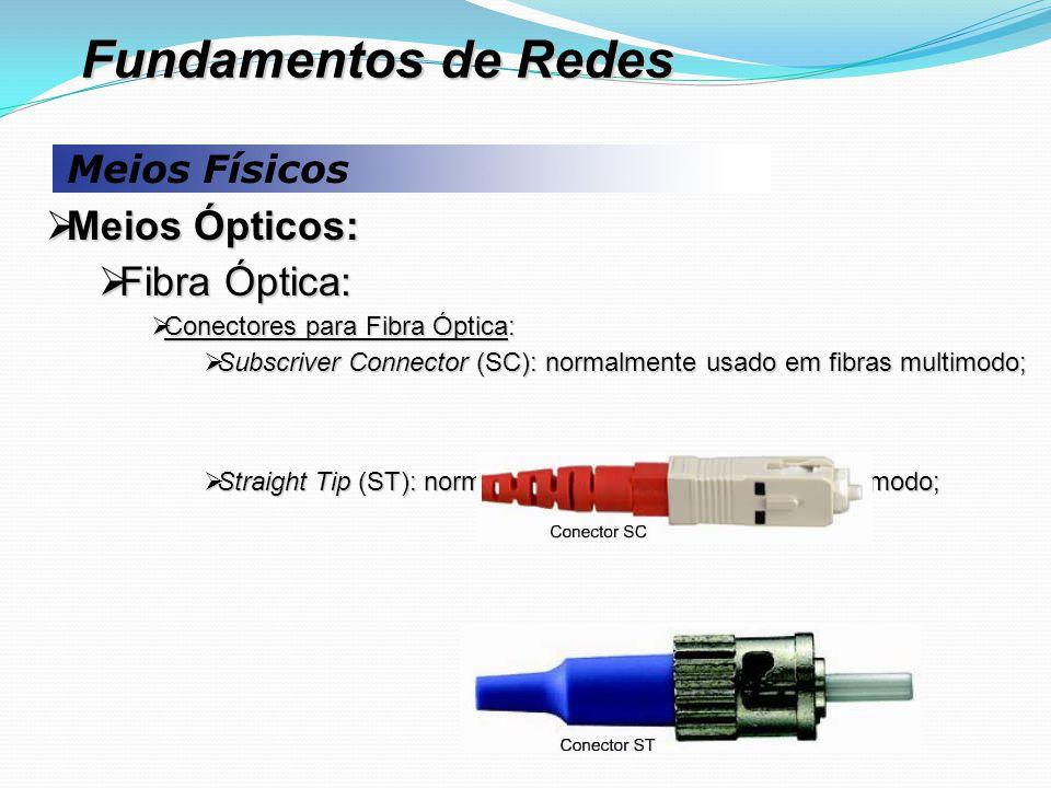 Meios Físicos  Meios Ópticos:  Fibra Óptica:  Conectores para Fibra Óptica:  Subscriver Connector (SC): normalmente usado em fibras multimodo;  Straight Tip (ST): normalmente utilizado em fibras monomodo; Fundamentos de Redes