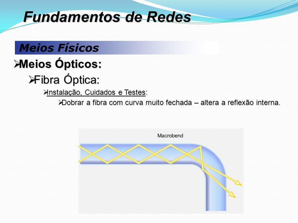 Meios Físicos  Meios Ópticos:  Fibra Óptica:  Instalação, Cuidados e Testes:  Dobrar a fibra com curva muito fechada – altera a reflexão interna.