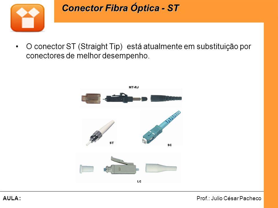 Ferramentas de Desenvolvimento Web Prof.: Julio César PachecoAULA : O conector ST (Straight Tip) está atualmente em substituição por conectores de melhor desempenho.