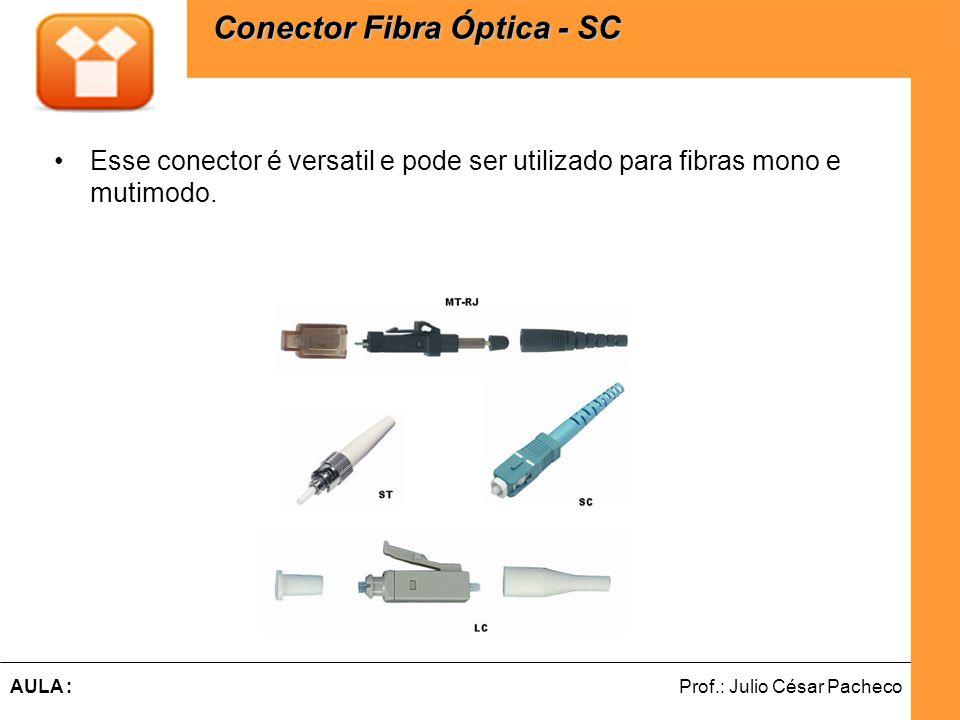 Ferramentas de Desenvolvimento Web Prof.: Julio César PachecoAULA : Esse conector é versatil e pode ser utilizado para fibras mono e mutimodo.