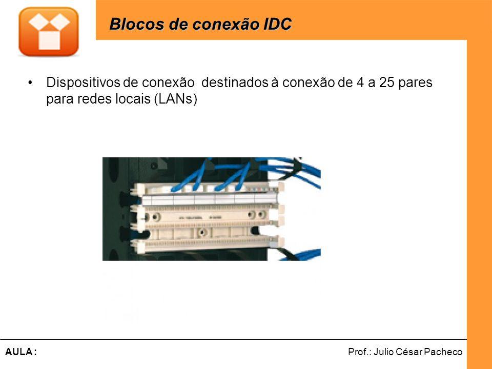 Ferramentas de Desenvolvimento Web Prof.: Julio César PachecoAULA : Dispositivos de conexão destinados à conexão de 4 a 25 pares para redes locais (LANs) Blocos de conexão IDC Blocos de conexão IDC