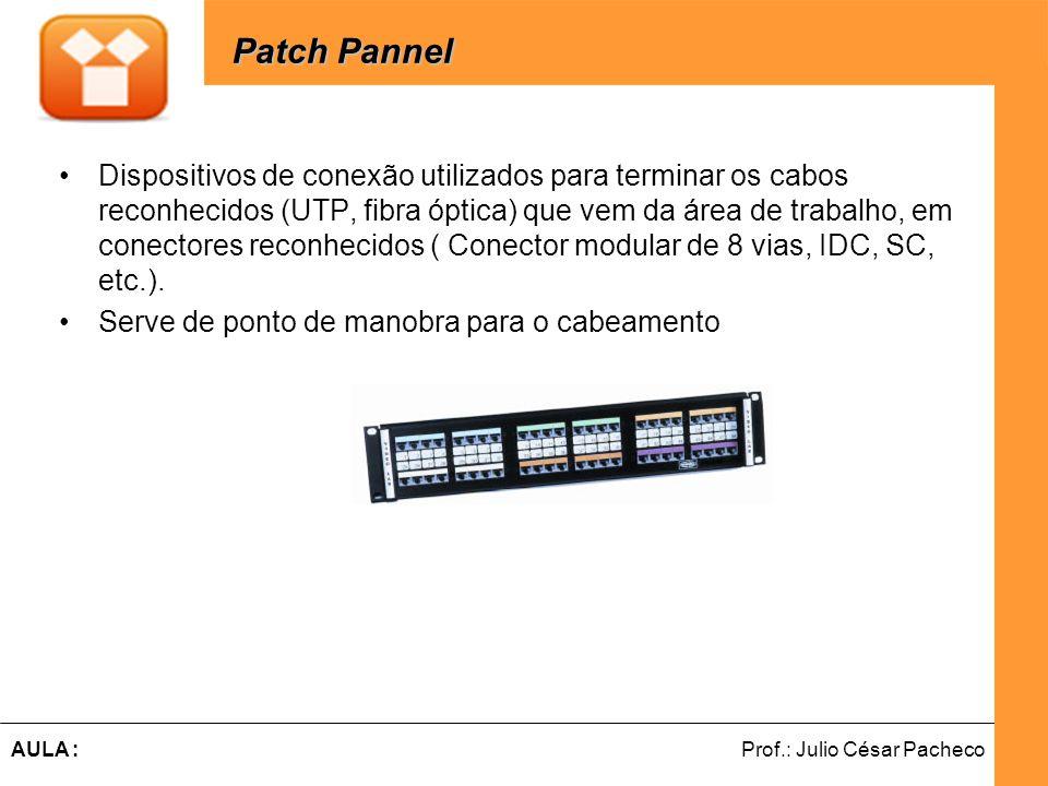 Ferramentas de Desenvolvimento Web Prof.: Julio César PachecoAULA : Dispositivos de conexão utilizados para terminar os cabos reconhecidos (UTP, fibra óptica) que vem da área de trabalho, em conectores reconhecidos ( Conector modular de 8 vias, IDC, SC, etc.).