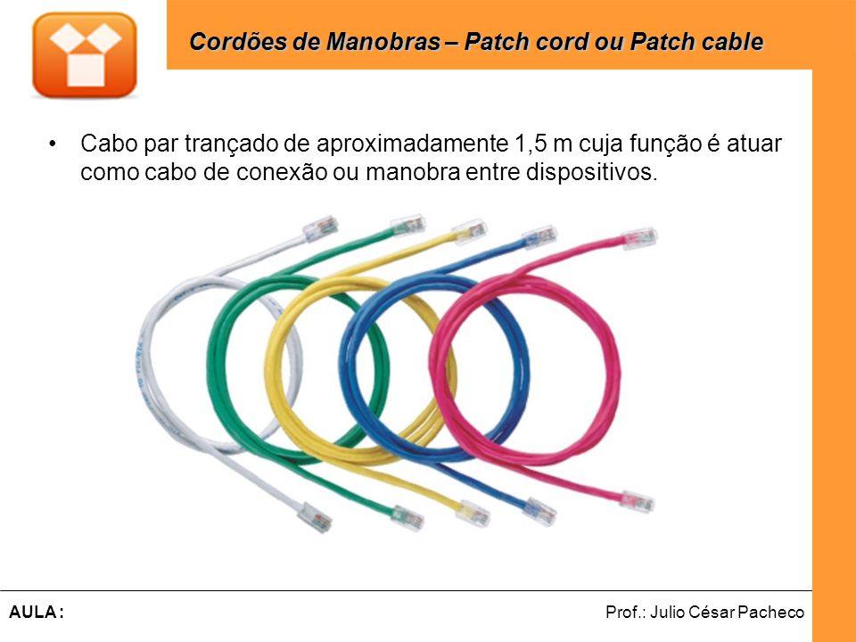 Ferramentas de Desenvolvimento Web Prof.: Julio César PachecoAULA : Cabo par trançado de aproximadamente 1,5 m cuja função é atuar como cabo de conexão ou manobra entre dispositivos.