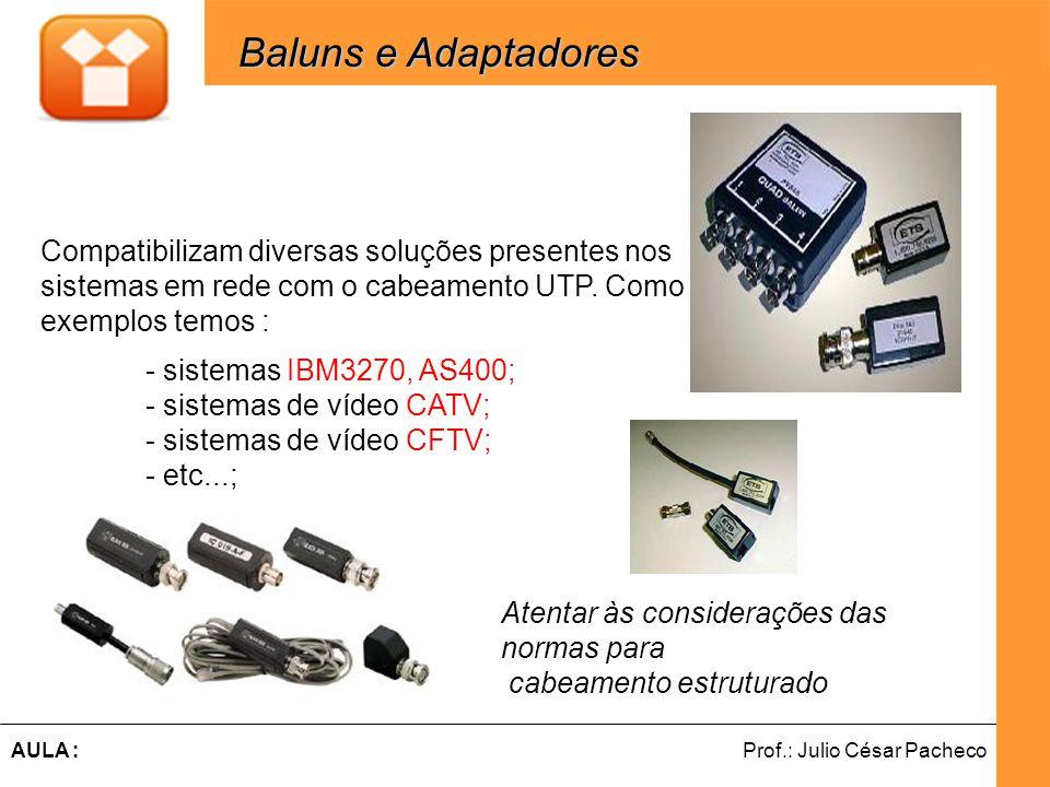 Ferramentas de Desenvolvimento Web Prof.: Julio César PachecoAULA : Compatibilizam diversas soluções presentes nos sistemas em rede com o cabeamento UTP.