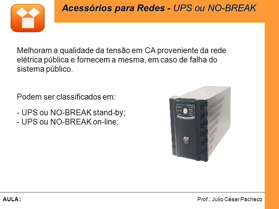 Ferramentas de Desenvolvimento Web Prof.: Julio César PachecoAULA : Melhoram a qualidade da tensão em CA proveniente da rede elétrica pública e fornecem a mesma, em caso de falha do sistema público.