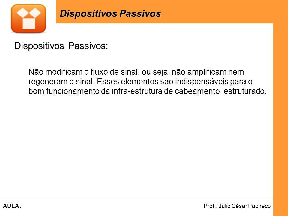Ferramentas de Desenvolvimento Web Prof.: Julio César PachecoAULA : Dispositivos Passivos: Não modificam o fluxo de sinal, ou seja, não amplificam nem regeneram o sinal.