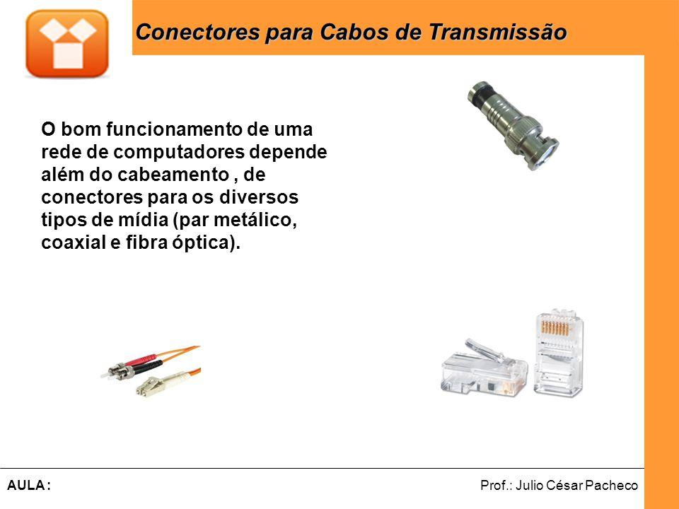 Ferramentas de Desenvolvimento Web Prof.: Julio César PachecoAULA : O bom funcionamento de uma rede de computadores depende além do cabeamento, de conectores para os diversos tipos de mídia (par metálico, coaxial e fibra óptica).