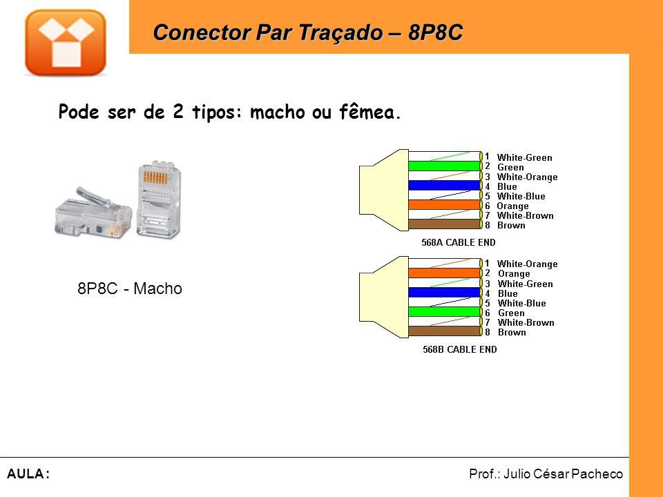 Ferramentas de Desenvolvimento Web Prof.: Julio César PachecoAULA : Pode ser de 2 tipos: macho ou fêmea. Conector Par Traçado – 8P8C Conector Par Traç