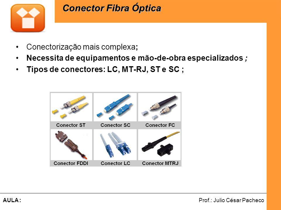 Ferramentas de Desenvolvimento Web Prof.: Julio César PachecoAULA : Conectorização mais complexa; Necessita de equipamentos e mão-de-obra especializad