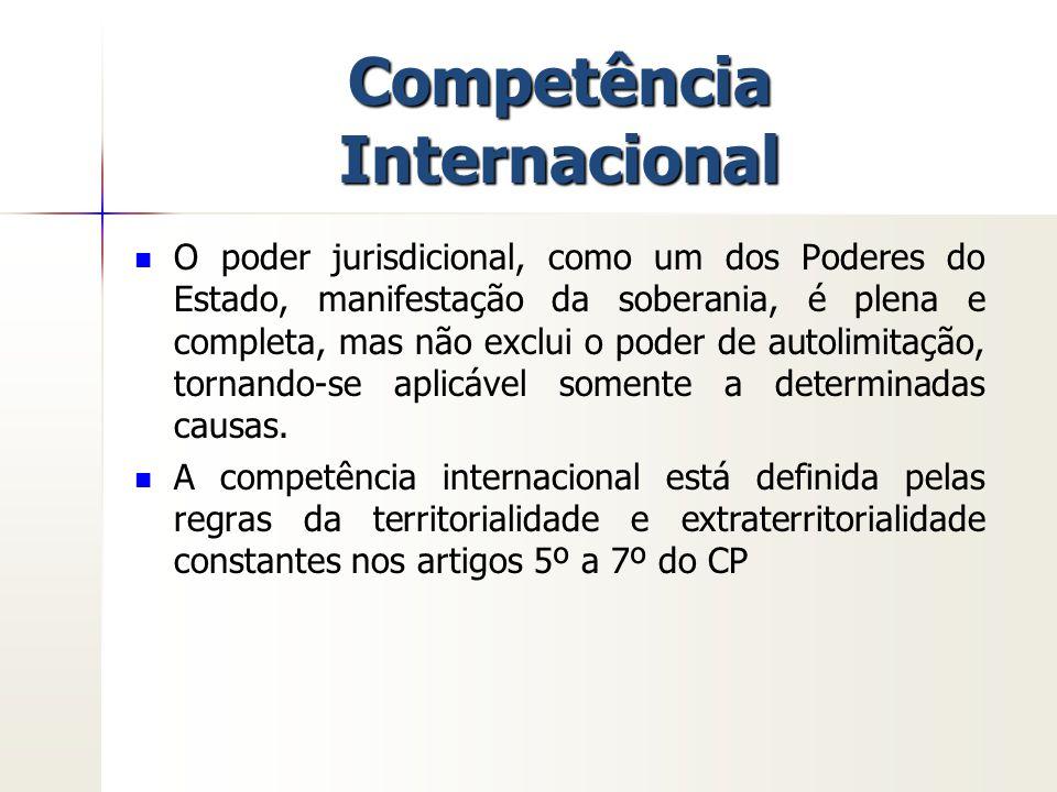 Competência Internacional O poder jurisdicional, como um dos Poderes do Estado, manifestação da soberania, é plena e completa, mas não exclui o poder