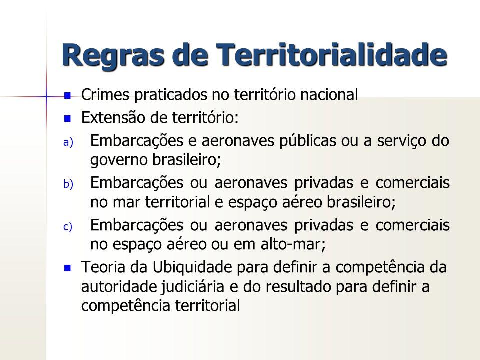 Regras de Territorialidade Crimes praticados no território nacional Extensão de território: a) a) Embarcações e aeronaves públicas ou a serviço do gov