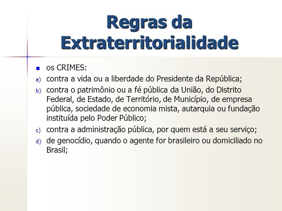 Regras da Extraterritorialidade os CRIMES: a) a) contra a vida ou a liberdade do Presidente da República; b) b) contra o patrimônio ou a fé pública da