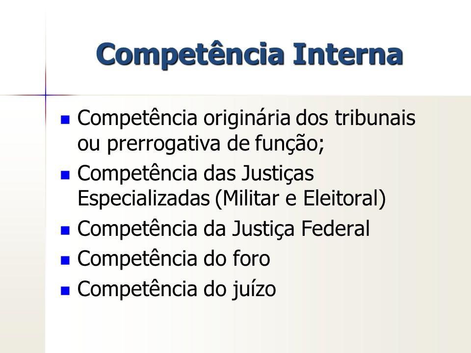 Competência Interna Competência originária dos tribunais ou prerrogativa de função; Competência das Justiças Especializadas (Militar e Eleitoral) Comp