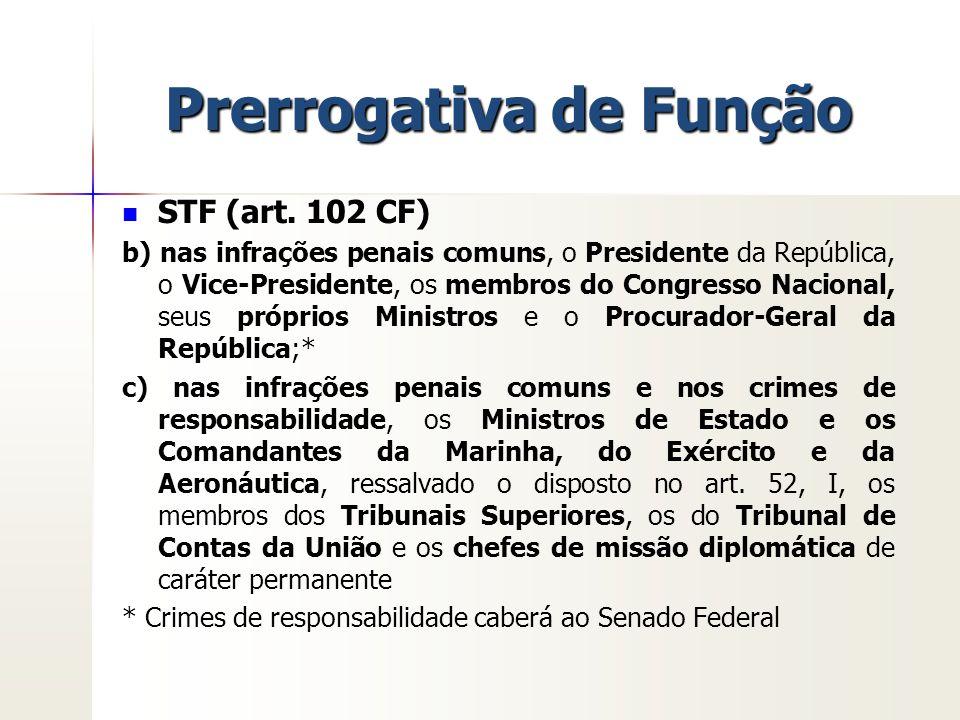Prerrogativa de Função STF (art. 102 CF) b) nas infrações penais comuns, o Presidente da República, o Vice-Presidente, os membros do Congresso Naciona