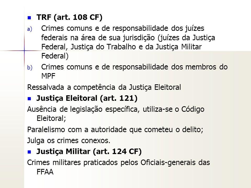 TRF (art. 108 CF) a) a) Crimes comuns e de responsabilidade dos juízes federais na área de sua jurisdição (juízes da Justiça Federal, Justiça do Traba