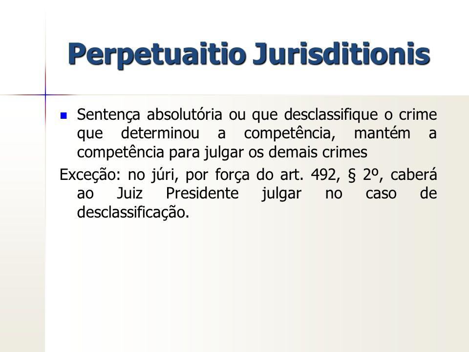 Perpetuaitio Jurisditionis Sentença absolutória ou que desclassifique o crime que determinou a competência, mantém a competência para julgar os demais
