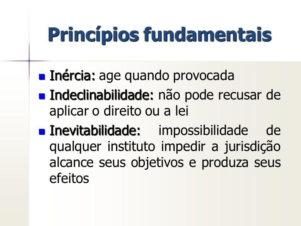 Princípios fundamentais Inércia: Inércia: age quando provocada Indeclinabilidade: Indeclinabilidade: não pode recusar de aplicar o direito ou a lei In