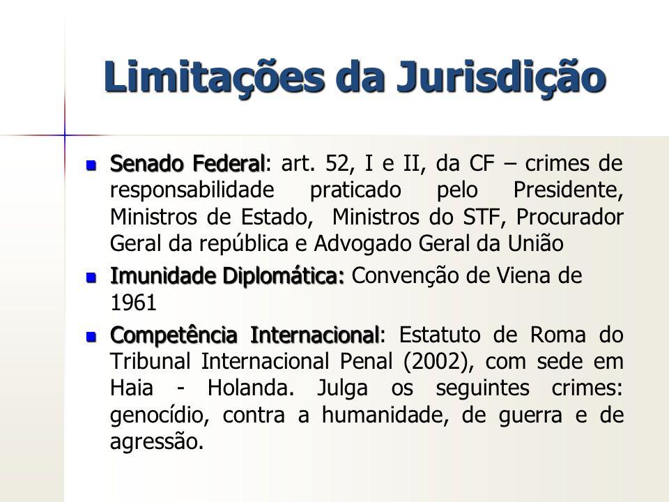 Limitações da Jurisdição Senado Federal Senado Federal: art. 52, I e II, da CF – crimes de responsabilidade praticado pelo Presidente, Ministros de Es