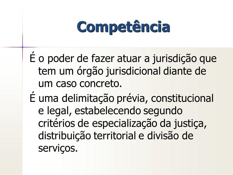 Competência É o poder de fazer atuar a jurisdição que tem um órgão jurisdicional diante de um caso concreto. É uma delimitação prévia, constitucional