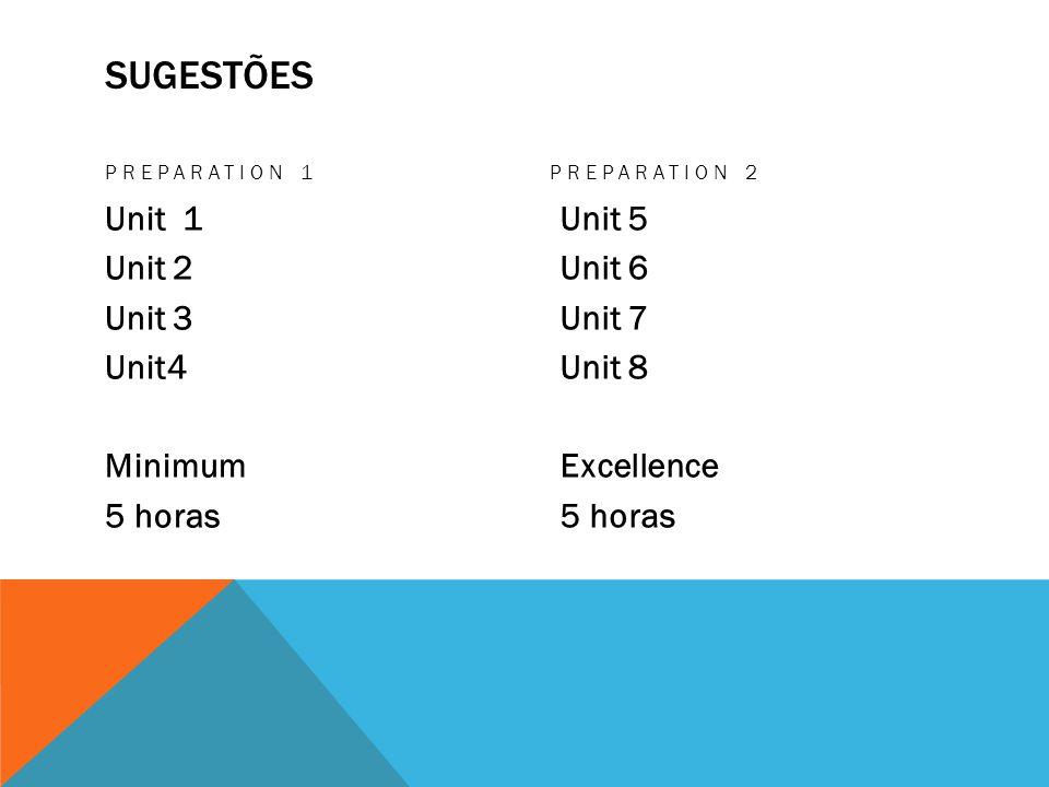 SUGESTÕES PREPARATION 1 Unit 1 Unit 2 Unit 3 Unit4 Minimum 5 horas PREPARATION 2 Unit 5 Unit 6 Unit 7 Unit 8 Excellence 5 horas