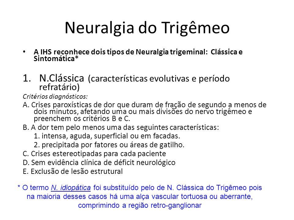 A IHS reconhece dois tipos de Neuralgia trigeminal: Clássica e Sintomática* 1.N.Clássica (características evolutivas e período refratário) Critérios d