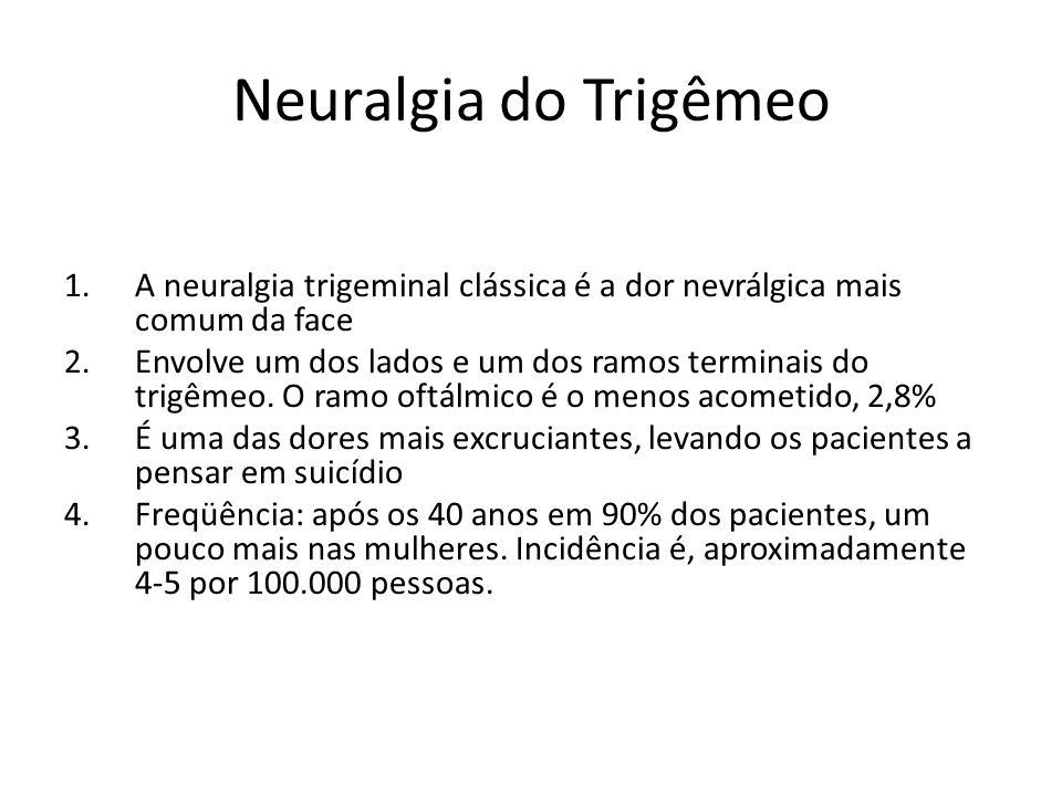 Neuralgia do Trigêmeo 1.A neuralgia trigeminal clássica é a dor nevrálgica mais comum da face 2.Envolve um dos lados e um dos ramos terminais do trigê