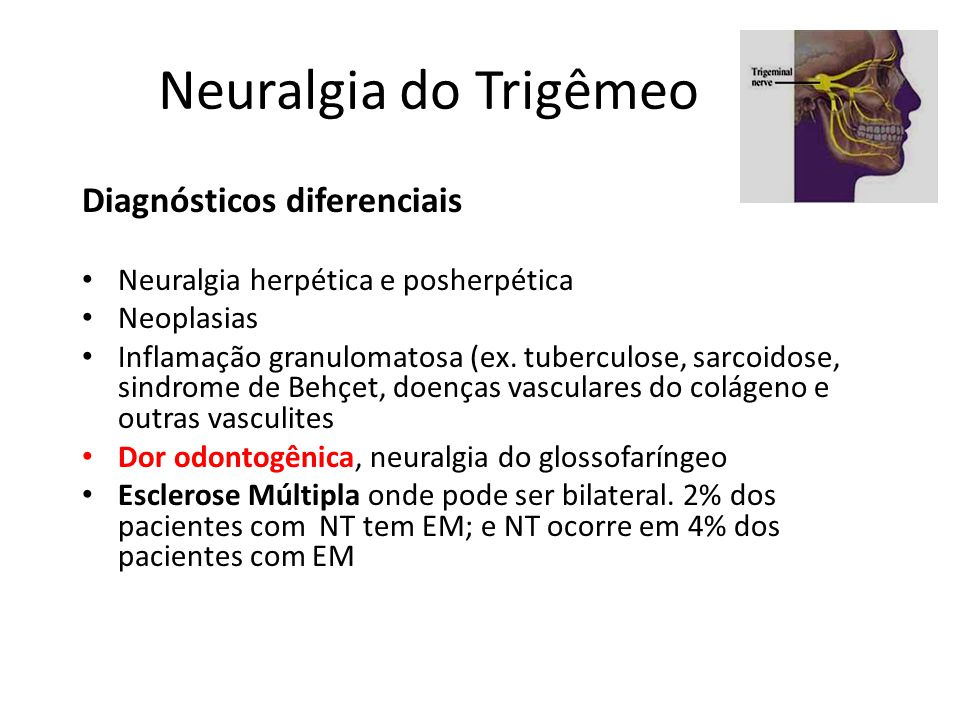 Neuralgia do Trigêmeo Diagnósticos diferenciais Neuralgia herpética e posherpética Neoplasias Inflamação granulomatosa (ex. tuberculose, sarcoidose, s