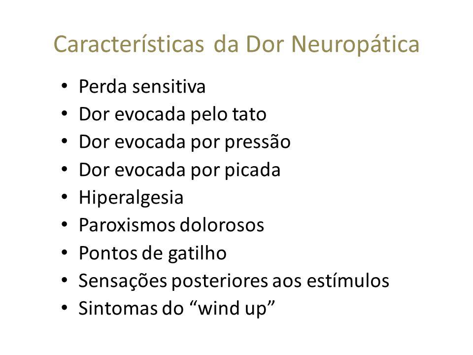 Características da Dor Neuropática Perda sensitiva Dor evocada pelo tato Dor evocada por pressão Dor evocada por picada Hiperalgesia Paroxismos doloro