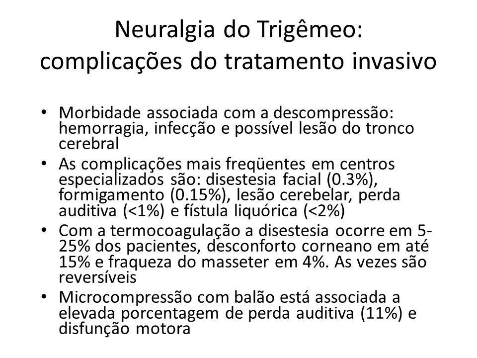 Neuralgia do Trigêmeo: complicações do tratamento invasivo Morbidade associada com a descompressão: hemorragia, infecção e possível lesão do tronco ce