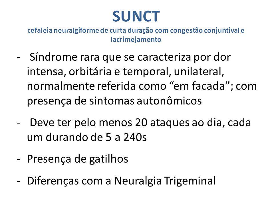 SUNCT cefaleia neuralgiforme de curta duração com congestão conjuntival e lacrimejamento - Síndrome rara que se caracteriza por dor intensa, orbitária