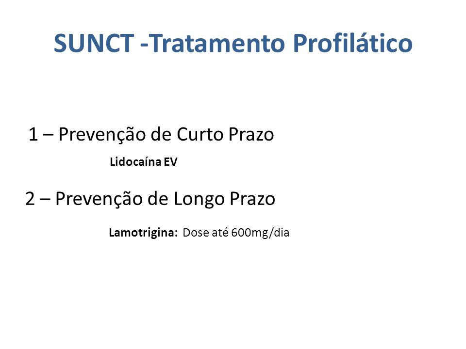 SUNCT -Tratamento Profilático 1 – Prevenção de Curto Prazo Lidocaína EV 2 – Prevenção de Longo Prazo Lamotrigina: Dose até 600mg/dia