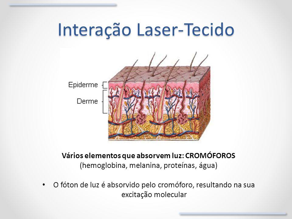 Interação Laser-Tecido Vários elementos que absorvem luz: CROMÓFOROS (hemoglobina, melanina, proteínas, água) O fóton de luz é absorvido pelo cromófor