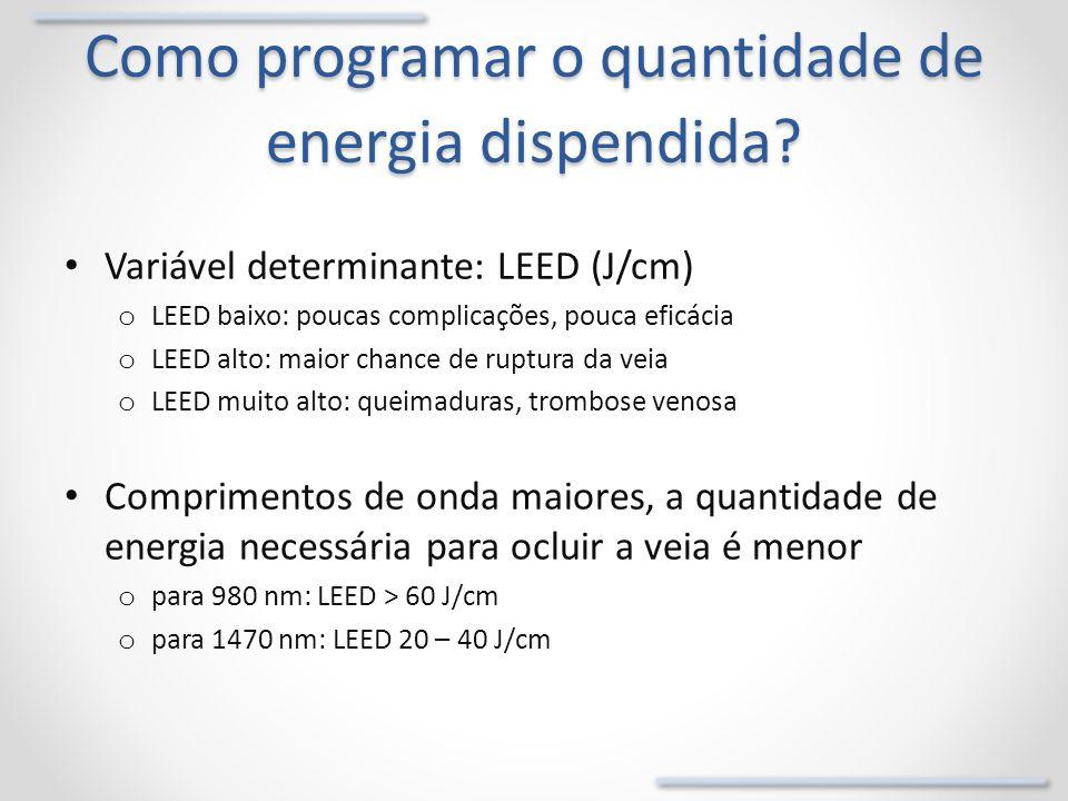 Como programar o quantidade de energia dispendida? Variável determinante: LEED (J/cm) o LEED baixo: poucas complicações, pouca eficácia o LEED alto: m