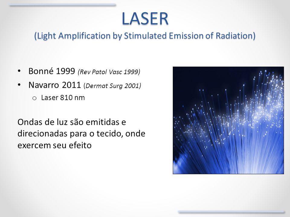 Laser endovenoso Objetivo o Obliterar irreversivelmente o segmento venoso com refluxo Vários comprimentos de onda: o 810 nm, 940 nm, 980 nm, 1.064 nm, o 1320 nm, 1470 nm, 1500 nm