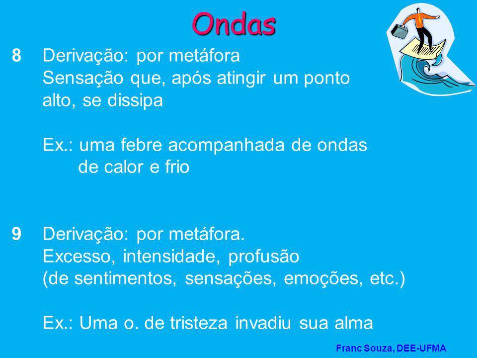 Franc Souza, DEE-UFMA Ondas 8 Derivação: por metáfora Sensação que, após atingir um ponto alto, se dissipa Ex.: uma febre acompanhada de ondas de calo
