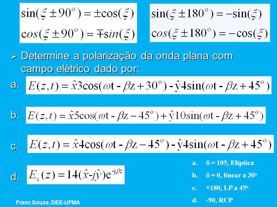 Exemplo  Determine a polarização da onda plana com campo elétrico dado por: a. b.c.d. a.  = 105, Elíptica b.  = 0, linear a 30 o c.+180, LP a 45 o