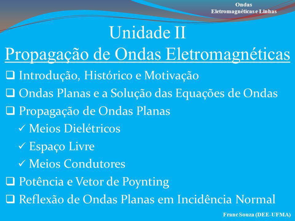 Unidade II Propagação de Ondas Eletromagnéticas  Introdução, Histórico e Motivação  Ondas Planas e a Solução das Equações de Ondas  Propagação de O