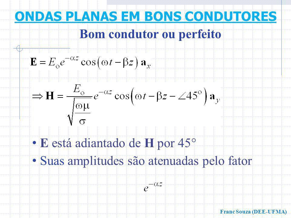 E está adiantado de H por 45° Suas amplitudes são atenuadas pelo fator Bom condutor ou perfeito ONDAS PLANAS EM BONS CONDUTORES Franc Souza (DEE-UFMA)