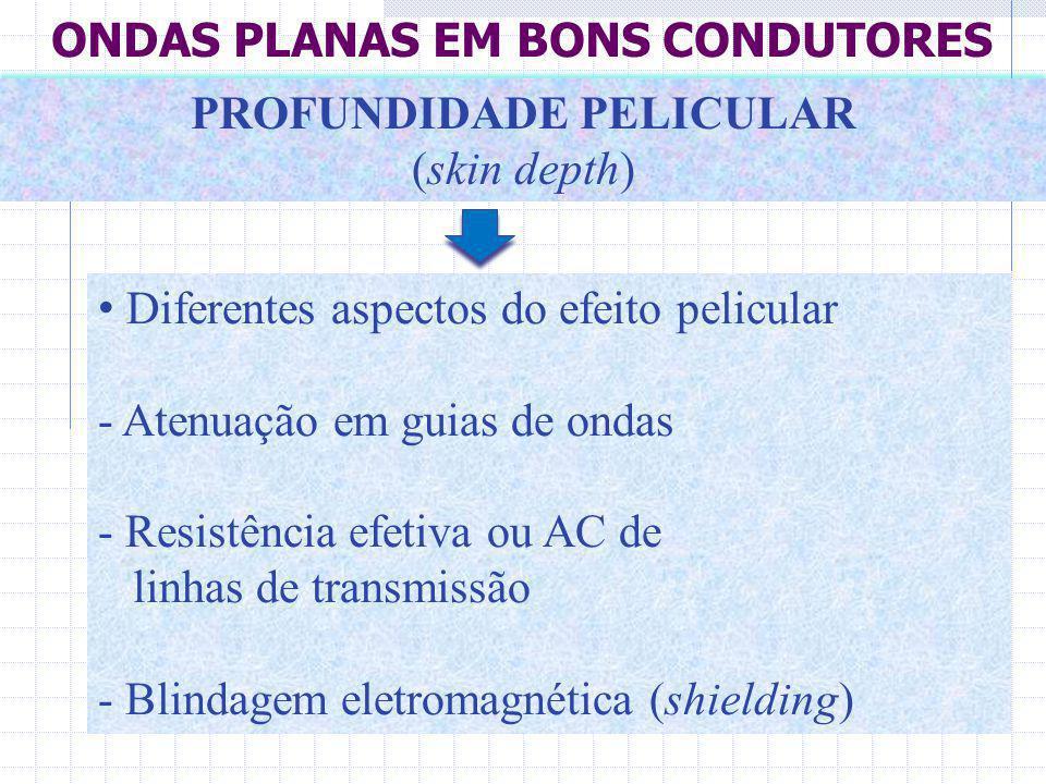Diferentes aspectos do efeito pelicular - Atenuação em guias de ondas - Resistência efetiva ou AC de linhas de transmissão - Blindagem eletromagnética
